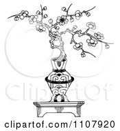 Clipart Cherry Blossom Bonsai In An Ornamental Vase Royalty Free Illustration