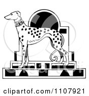 Clipart Black And White Art Deco Styled Dalmatian Dog Royalty Free Illustration