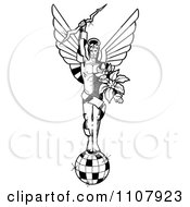 Clipart Disco God Holding A Bolt And Flowers On Top Of A Ball Royalty Free Illustration