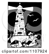 Black And White Lighthouse With A Shining Beacon On A Rocky Island