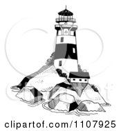 Clipart Black And White Lighthouse On A Rocky Island Royalty Free Vector Illustration