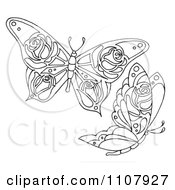 Clipart Black And White Butterflies With Rose Patterns Royalty Free Illustration by LoopyLand