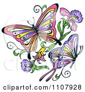 Clipart Colorful Asian Butterflies With Flowers Royalty Free Illustration