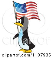 Clipart American Penguin Carrying A USA Flag Royalty Free Vector Illustration by Lal Perera
