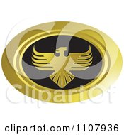 Clipart Oval Gold And Black Phoenix Icon Royalty Free Vector Illustration by Lal Perera