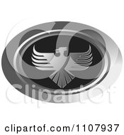 Clipart Oval Silver And Black Phoenix Icon Royalty Free Vector Illustration