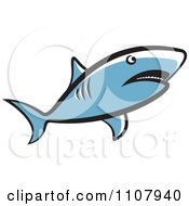 Clipart Blue Shark Swimming Royalty Free Vector Illustration
