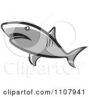 Clipart Gray Shark Swimming Royalty Free Vector Illustration by Lal Perera