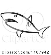Clipart Black And White Shark Swimming Royalty Free Vector Illustration