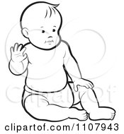 Clipart Outlined Caucasian Baby Boy Sitting Up And Waving Royalty Free Vector Illustration