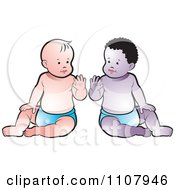 Clipart Black And White Babies Sitting Up And Waving Royalty Free Vector Illustration