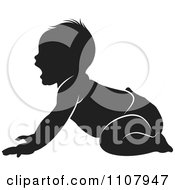 Clipart Black And White Baby On All Fours Royalty Free Vector Illustration