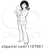 Clipart Outlined Mother With A Baby Royalty Free Vector Illustration