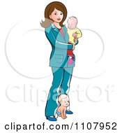 Clipart Brunette Mother With Two Babies Royalty Free Vector Illustration