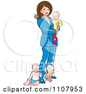Clipart Brunette Mother With Three Babies Royalty Free Vector Illustration