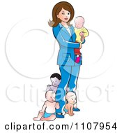 Clipart Brunette Mother With Four Babies Royalty Free Vector Illustration