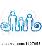 Clipart Blue Parents And Child Royalty Free Vector Illustration by Lal Perera