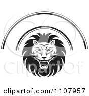 Clipart Black And White Roaring Lion Face And Arch Royalty Free Vector Illustration