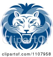 Clipart Blue Roaring Lion Face Royalty Free Vector Illustration by Lal Perera
