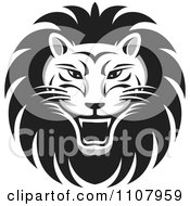 Clipart Black And White Roaring Lion Face Royalty Free Vector Illustration