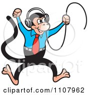 Clipart Happy Monkey Jumping And Wearing Headphones Royalty Free Vector Illustration by Lal Perera