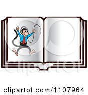 Clipart Monkey With Headphones In An Open Book Royalty Free Vector Illustration by Lal Perera