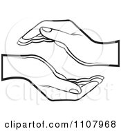 Clipart Black And White Supportive Human Hands Royalty Free Vector Illustration