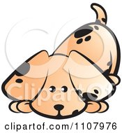 Clipart Cute Puppy Sniffing The Ground Royalty Free Vector Illustration by Lal Perera