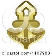 Clipart Gold Nautical Anchor Royalty Free Vector Illustration