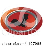 Clipart Oval Flying Bat Icon 1 Royalty Free Vector Illustration