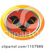 Clipart Oval Flying Bat Icon 2 Royalty Free Vector Illustration