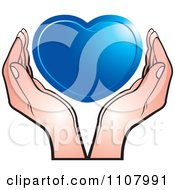 Clipart Hands Holding A Blue Heart Royalty Free Vector Illustration