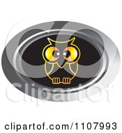 Clipart Oval Silver Gold And Black Owl Icon Royalty Free Vector Illustration by Lal Perera