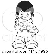 Clipart Outlined Shy Girl Royalty Free Vector Illustration