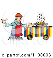 Clipart Happy Male Chef Frying Corn Dogs 2 Royalty Free Vector Illustration by Lal Perera