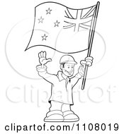 Clipart Outlined Happy Man Holding A New Zealand Flag Royalty Free Vector Illustration