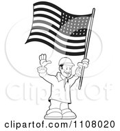 Clipart Black And White Happy Man Holding An American Flag Royalty Free Vector Illustration