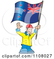 Clipart Happy Man Holding A New Zealand Flag Royalty Free Vector Illustration