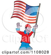 Clipart Happy Black Man Holding An American Flag Royalty Free Vector Illustration
