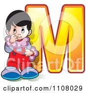 Clipart Shy Girl By The Letter M Royalty Free Vector Illustration