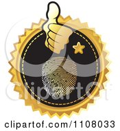 Clipart Gold And Black Thumb Print Identity Icon Royalty Free Vector Illustration