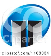 Clipart Blue Oval With Two Open Doors Royalty Free Vector Illustration by Lal Perera