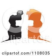 Clipart White Cross In Black And Orange Stones Royalty Free Vector Illustration