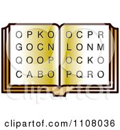 Clipart Golden Open Book With Letters Royalty Free Vector Illustration
