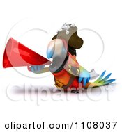 Clipart 3d Pirate Macaw Parrot Using A Megaphone 1 Royalty Free CGI Illustration