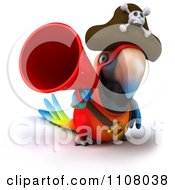 Clipart 3d Pirate Macaw Parrot Using A Megaphone 2 Royalty Free CGI Illustration