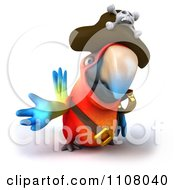 Clipart 3d Pirate Macaw Parrot Presenting Royalty Free CGI Illustration