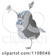 Clipart 3d Silver Cloud Cartwheeling Royalty Free CGI Illustration
