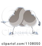 Clipart 3d Silver Cloud Presenting Royalty Free CGI Illustration