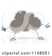 Clipart 3d Silver Cloud Shrugging Royalty Free CGI Illustration